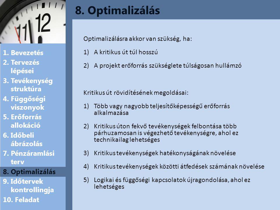 8. Optimalizálás Optimalizálásra akkor van szükség, ha: