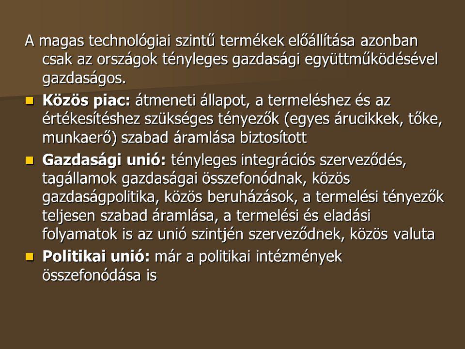A magas technológiai szintű termékek előállítása azonban csak az országok tényleges gazdasági együttműködésével gazdaságos.