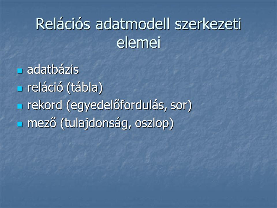 Relációs adatmodell szerkezeti elemei