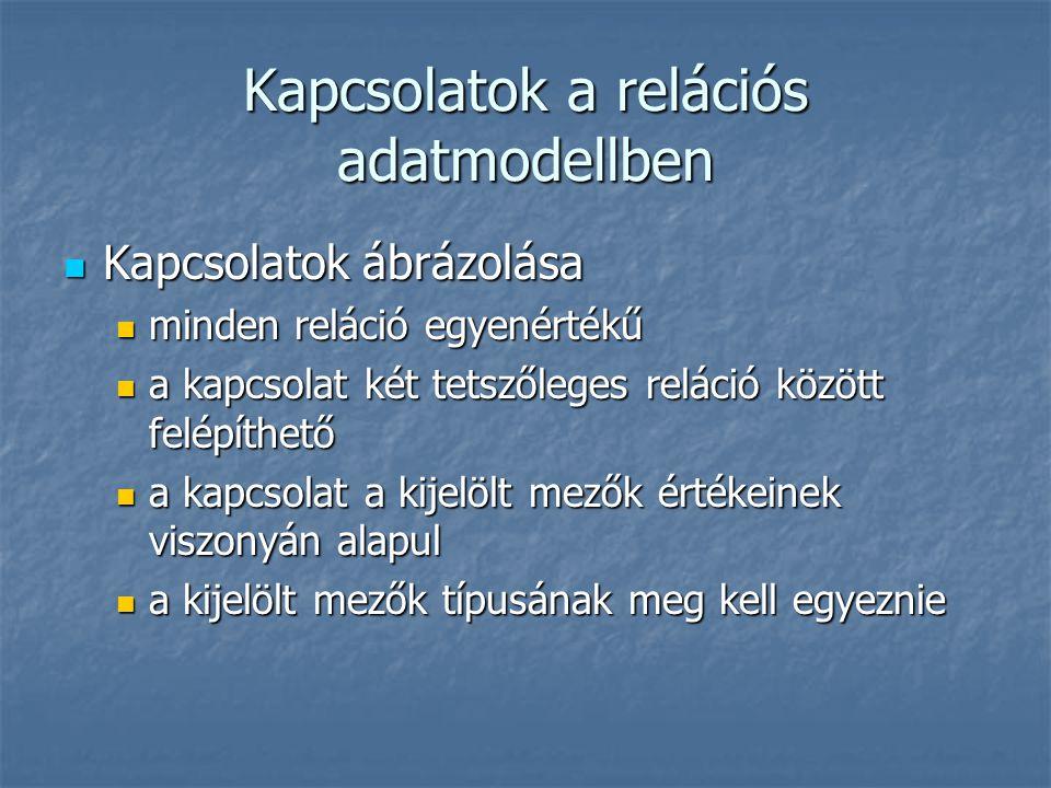 Kapcsolatok a relációs adatmodellben