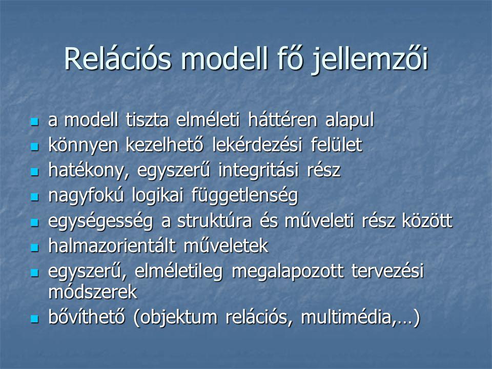 Relációs modell fő jellemzői