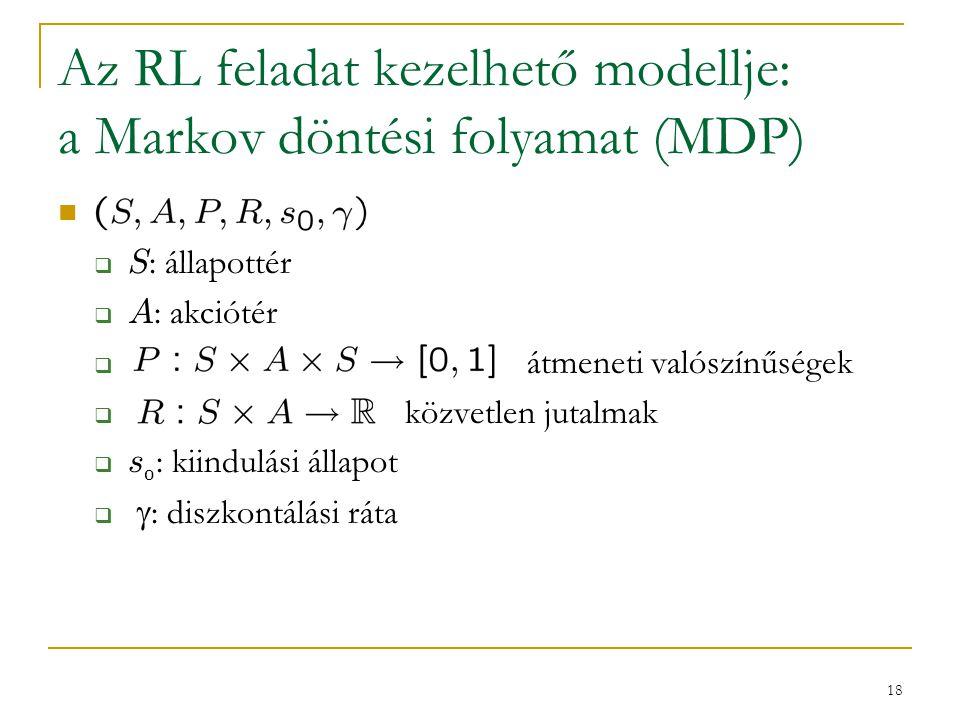 Az RL feladat kezelhető modellje: a Markov döntési folyamat (MDP)