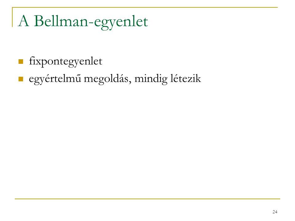 A Bellman-egyenlet fixpontegyenlet egyértelmű megoldás, mindig létezik