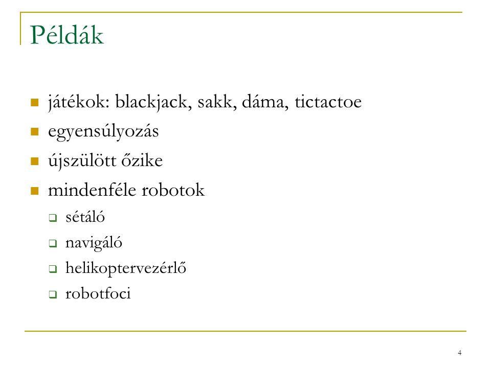 Példák játékok: blackjack, sakk, dáma, tictactoe egyensúlyozás