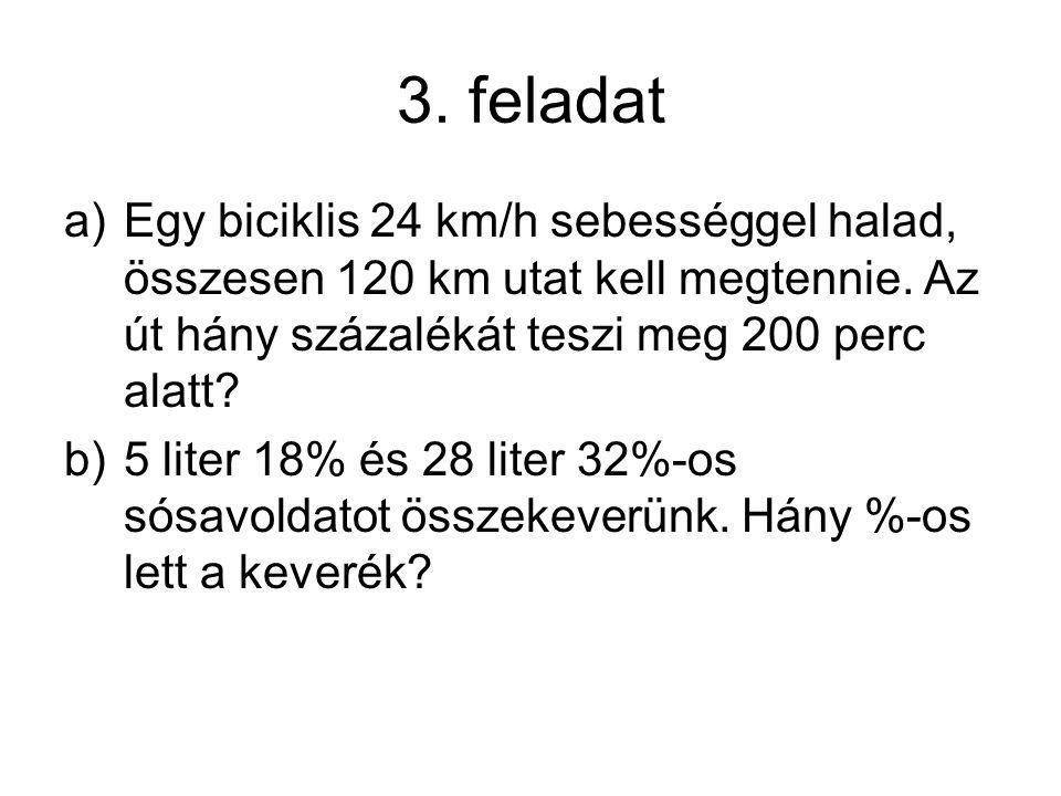 3. feladat Egy biciklis 24 km/h sebességgel halad, összesen 120 km utat kell megtennie. Az út hány százalékát teszi meg 200 perc alatt