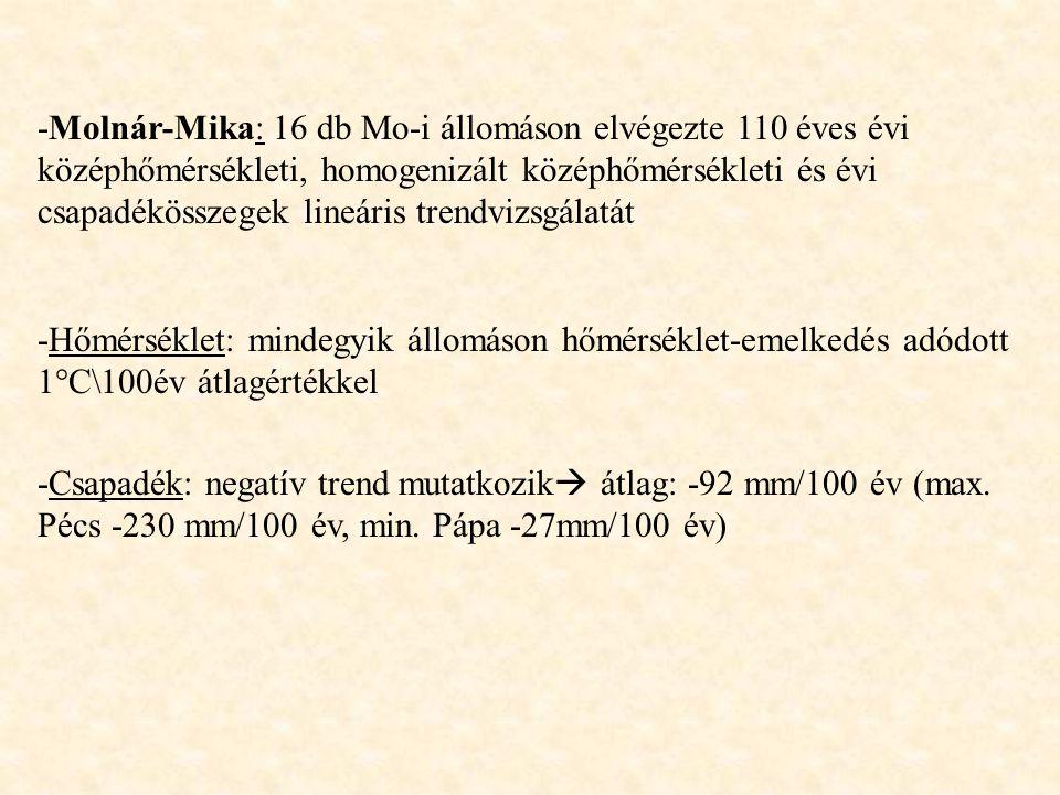 -Molnár-Mika: 16 db Mo-i állomáson elvégezte 110 éves évi középhőmérsékleti, homogenizált középhőmérsékleti és évi csapadékösszegek lineáris trendvizsgálatát