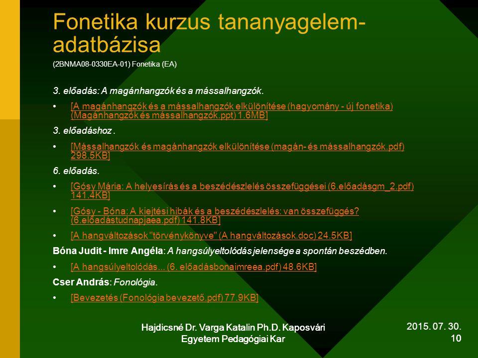 Fonetika kurzus tananyagelem-adatbázisa