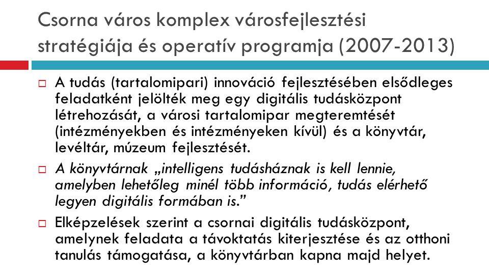 Csorna város komplex városfejlesztési stratégiája és operatív programja (2007-2013)