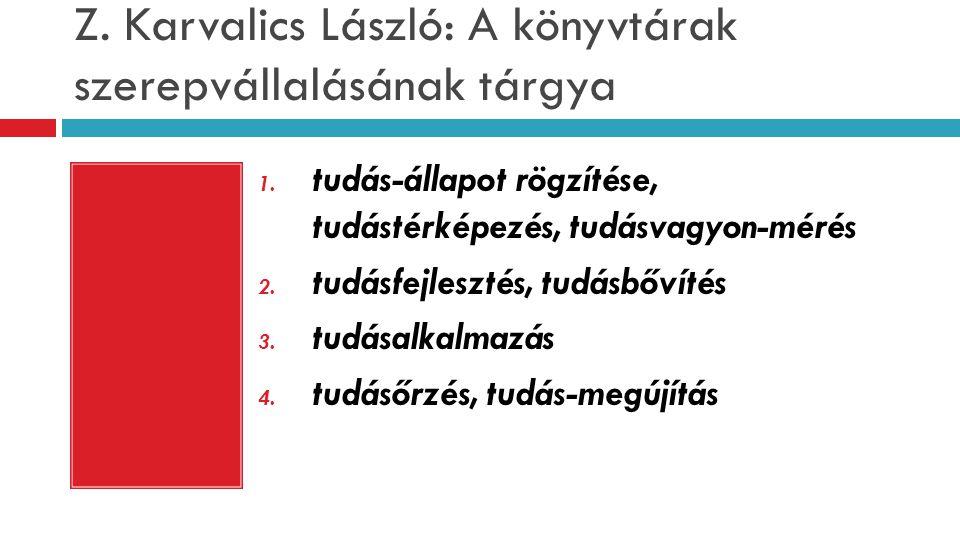 Z. Karvalics László: A könyvtárak szerepvállalásának tárgya