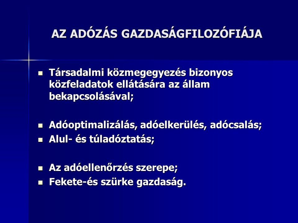 AZ ADÓZÁS GAZDASÁGFILOZÓFIÁJA