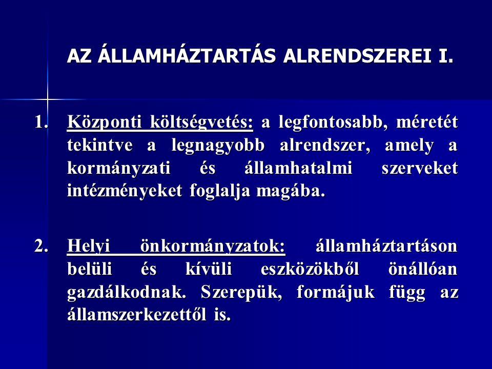 AZ ÁLLAMHÁZTARTÁS ALRENDSZEREI I.