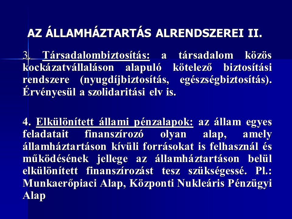 AZ ÁLLAMHÁZTARTÁS ALRENDSZEREI II.