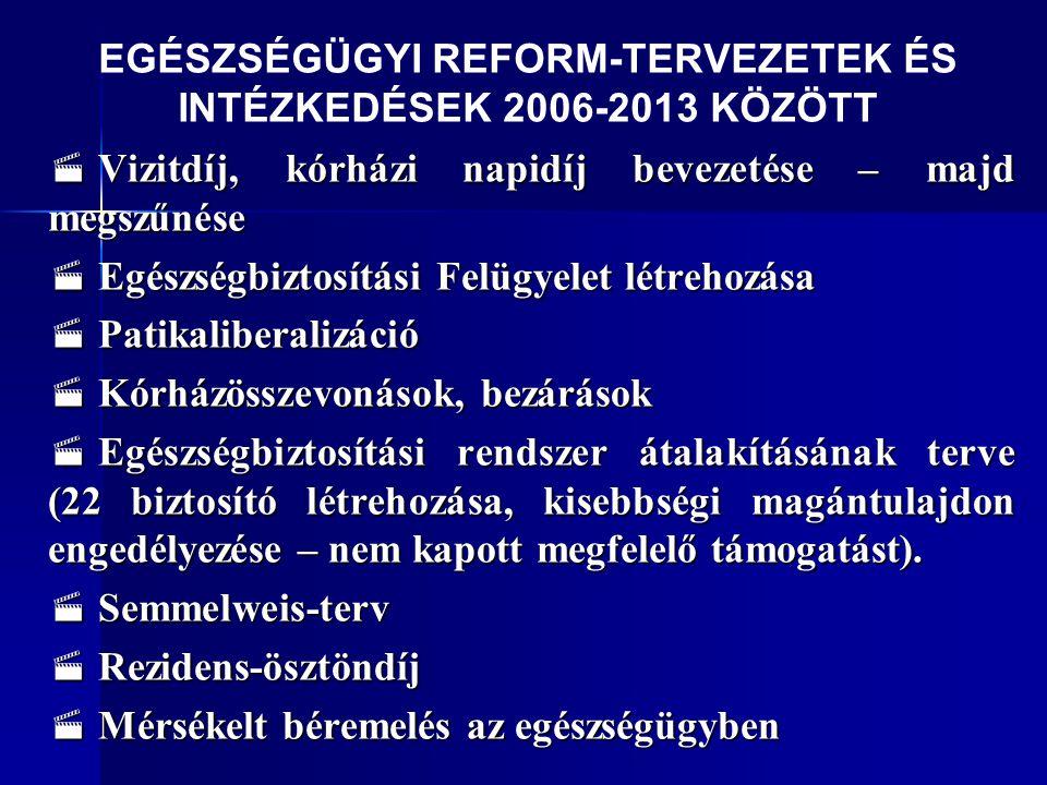 EGÉSZSÉGÜGYI REFORM-TERVEZETEK ÉS INTÉZKEDÉSEK 2006-2013 KÖZÖTT