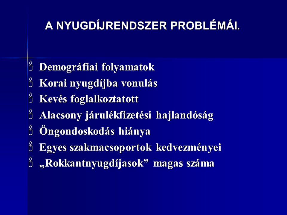 A NYUGDÍJRENDSZER PROBLÉMÁI.