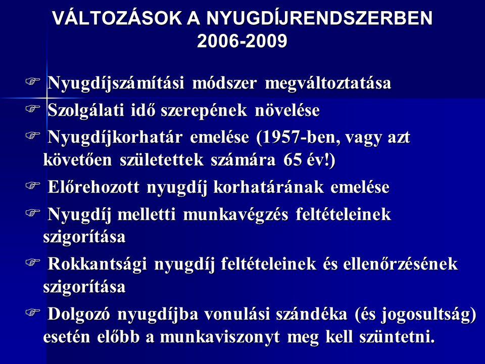 VÁLTOZÁSOK A NYUGDÍJRENDSZERBEN 2006-2009