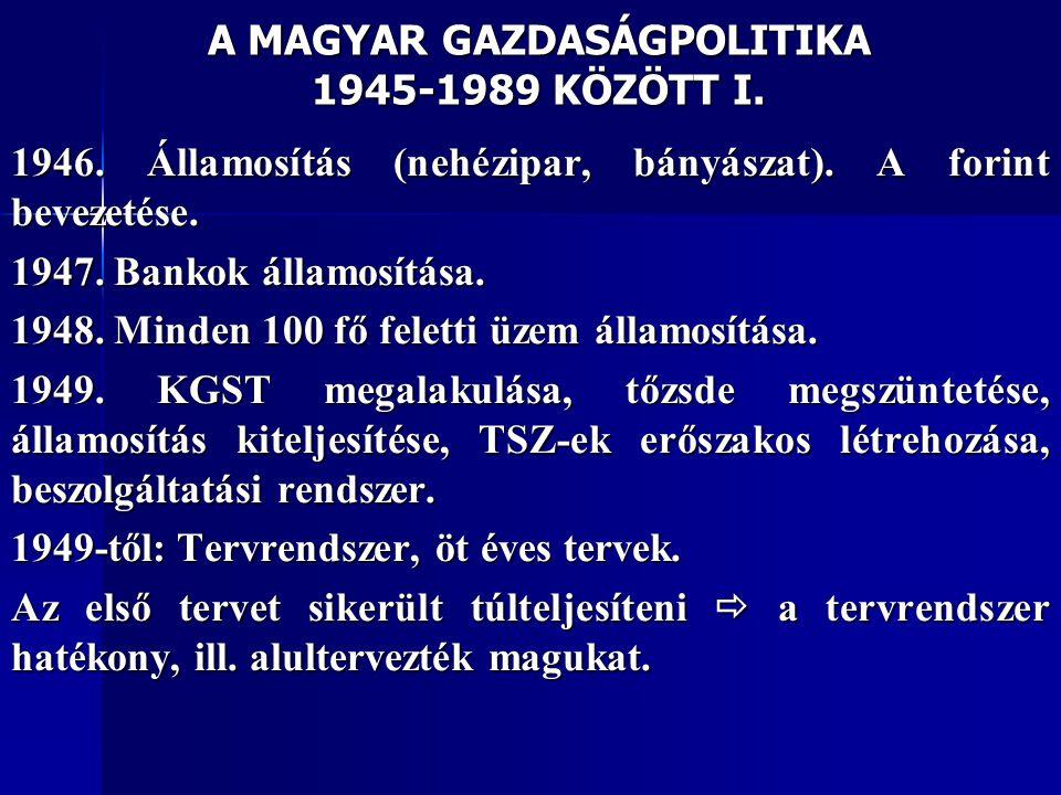A MAGYAR GAZDASÁGPOLITIKA 1945-1989 KÖZÖTT I.