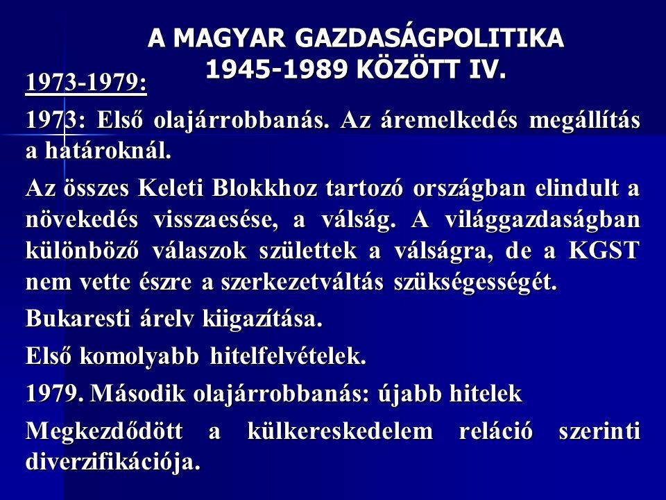 A MAGYAR GAZDASÁGPOLITIKA 1945-1989 KÖZÖTT IV.