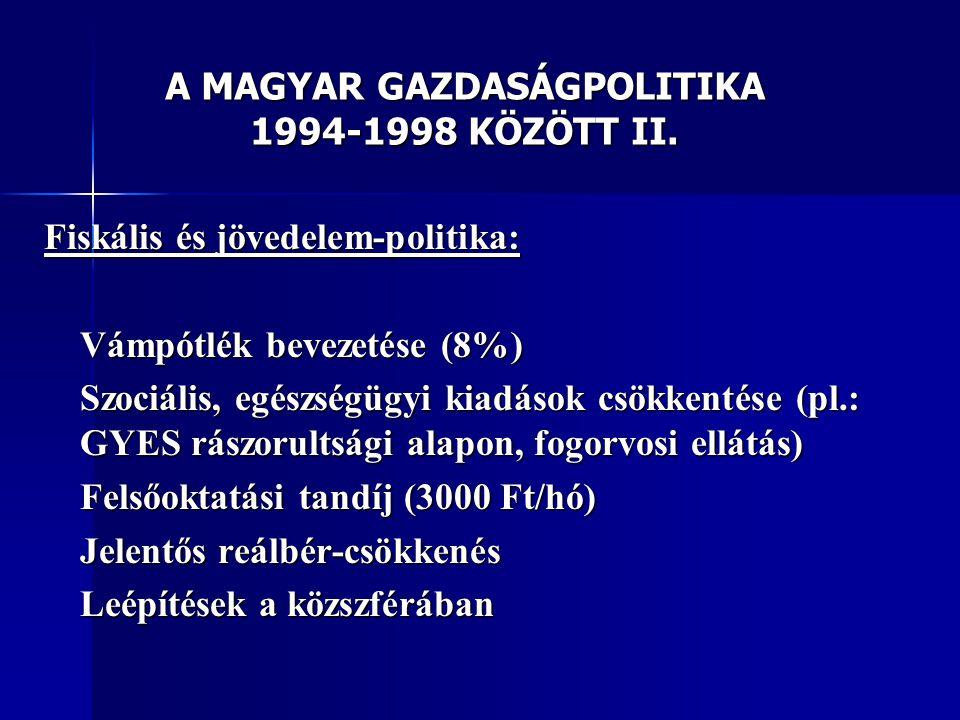 A MAGYAR GAZDASÁGPOLITIKA 1994-1998 KÖZÖTT II.