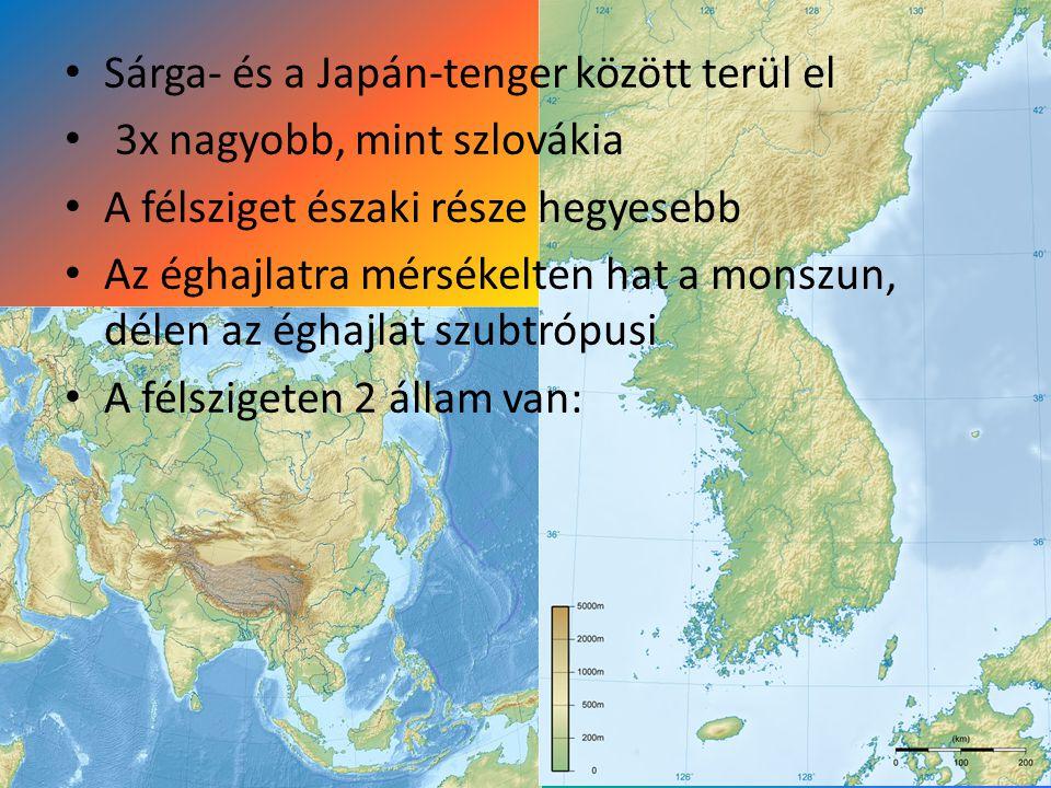 Sárga- és a Japán-tenger között terül el