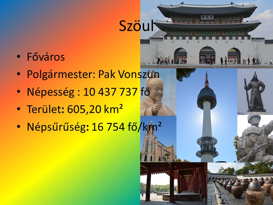 Szöul Főváros Polgármester: Pak Vonszun Népesség : 10 437 737 fő