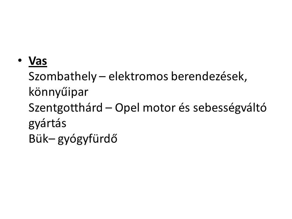 Vas Szombathely – elektromos berendezések, könnyűipar Szentgotthárd – Opel motor és sebességváltó gyártás Bük– gyógyfürdő