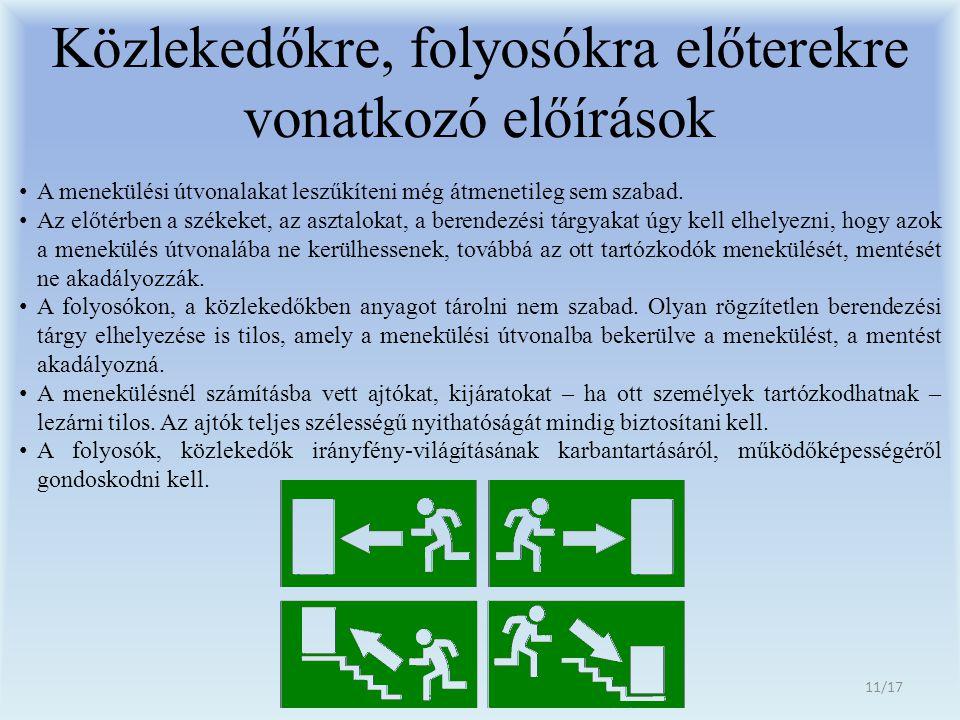 Közlekedőkre, folyosókra előterekre vonatkozó előírások
