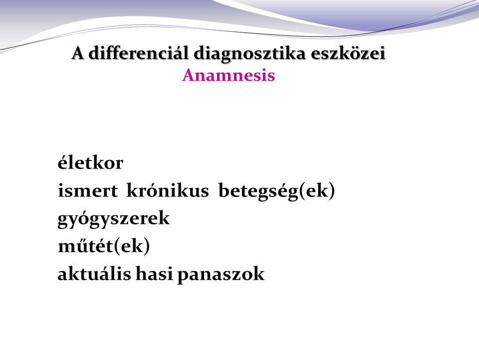 A differenciál diagnosztika eszközei Anamnesis