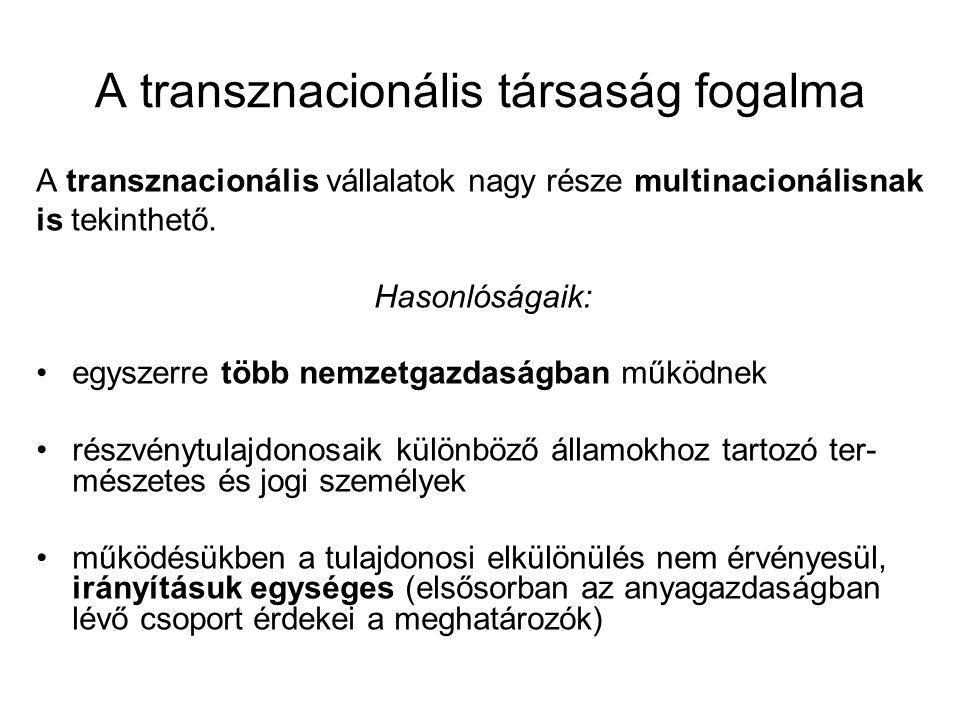A transznacionális társaság fogalma