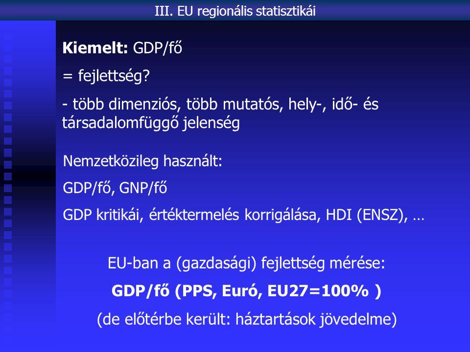 EU-ban a (gazdasági) fejlettség mérése: GDP/fő (PPS, Euró, EU27=100% )