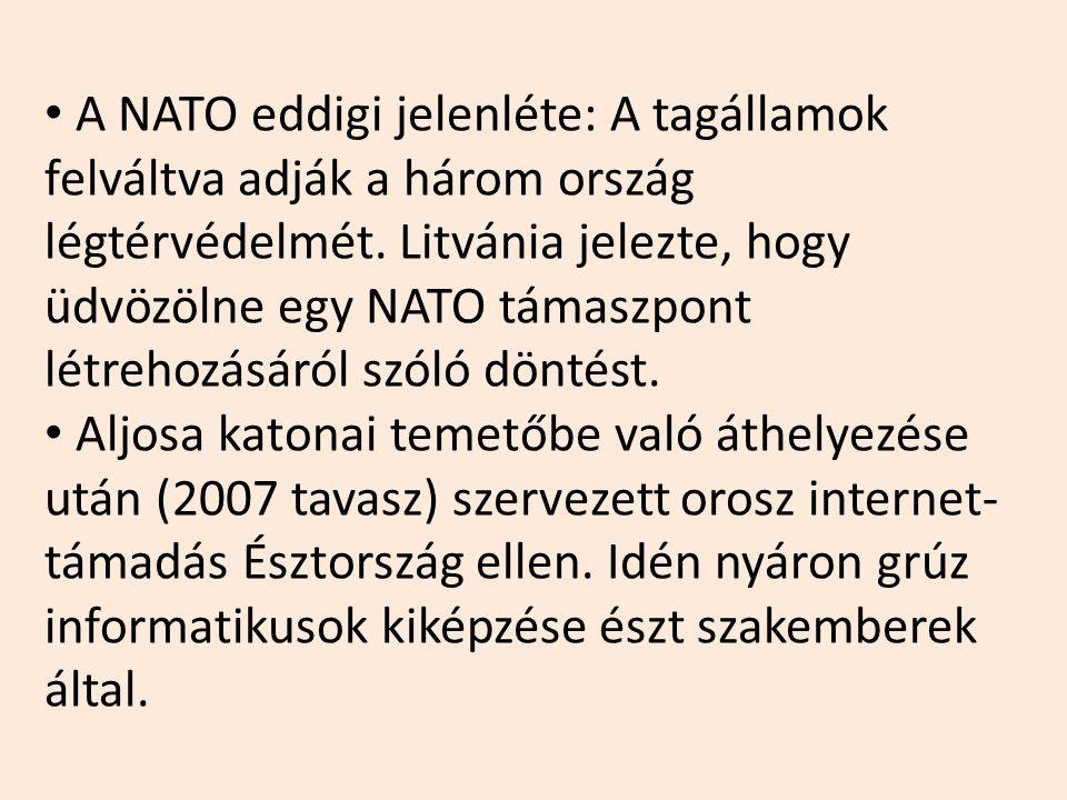 A NATO eddigi jelenléte: A tagállamok felváltva adják a három ország légtérvédelmét. Litvánia jelezte, hogy üdvözölne egy NATO támaszpont létrehozásáról szóló döntést.