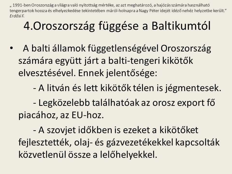 4.Oroszország függése a Baltikumtól