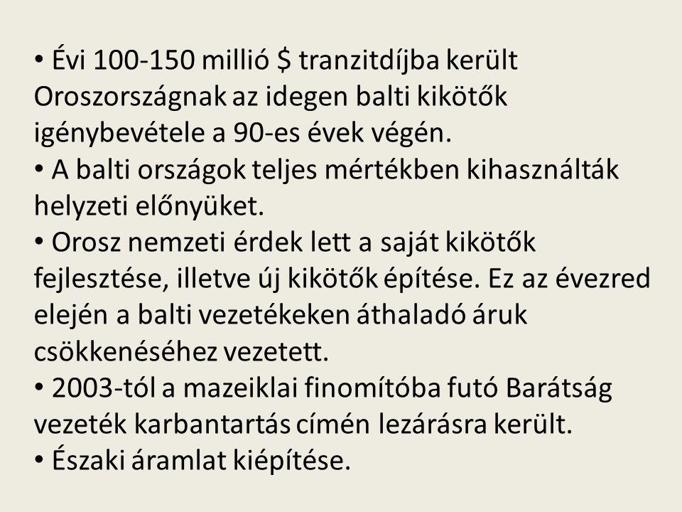 Évi 100-150 millió $ tranzitdíjba került Oroszországnak az idegen balti kikötők igénybevétele a 90-es évek végén.