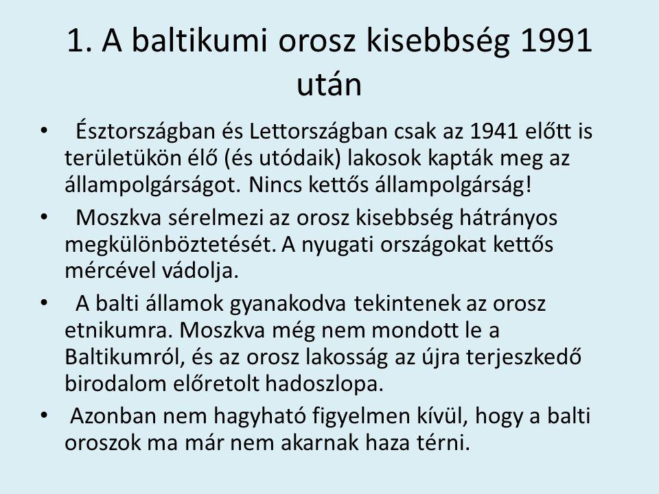 1. A baltikumi orosz kisebbség 1991 után