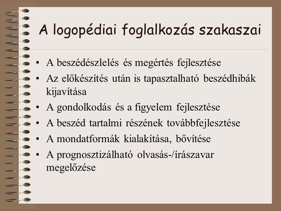 A logopédiai foglalkozás szakaszai