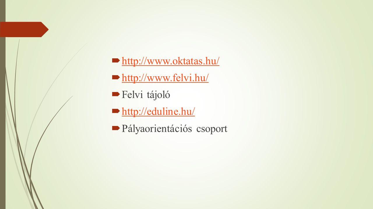 http://www.oktatas.hu/ http://www.felvi.hu/ Felvi tájoló.