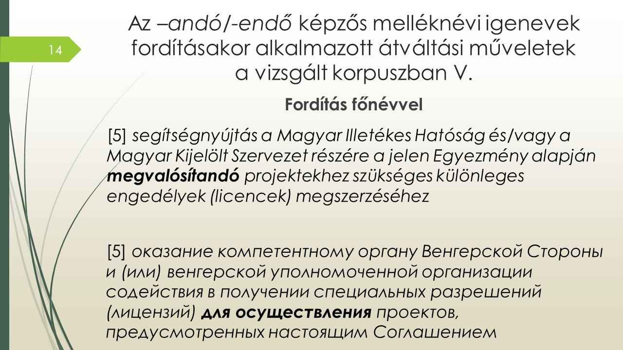 Az –andó/-endő képzős melléknévi igenevek fordításakor alkalmazott átváltási műveletek a vizsgált korpuszban V.