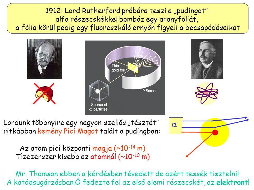 """ 1912: Lord Rutherford próbára teszi a """"pudingot :"""