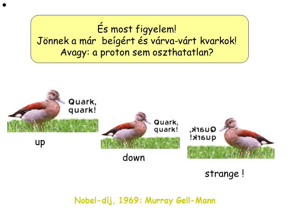  És most figyelem! Jönnek a már beígért és várva-várt kvarkok! Avagy: a proton sem oszthatatlan up.