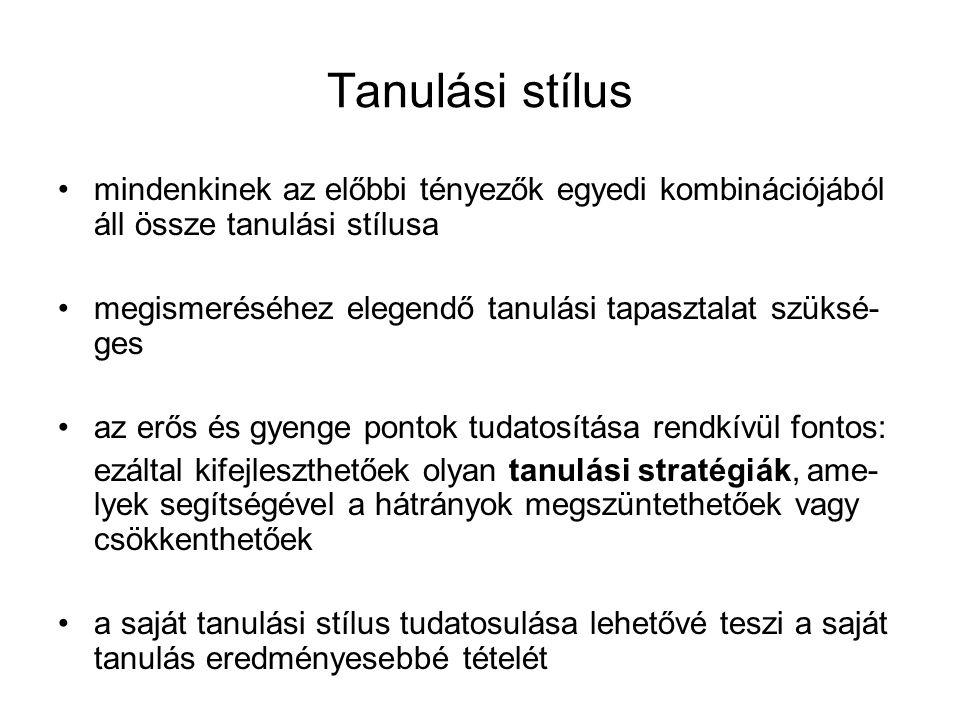 Tanulási stílus mindenkinek az előbbi tényezők egyedi kombinációjából áll össze tanulási stílusa.