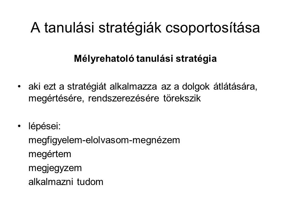 A tanulási stratégiák csoportosítása