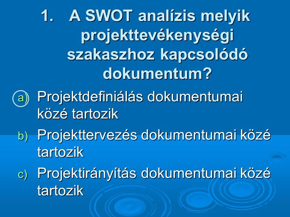 A SWOT analízis melyik projekttevékenységi szakaszhoz kapcsolódó dokumentum