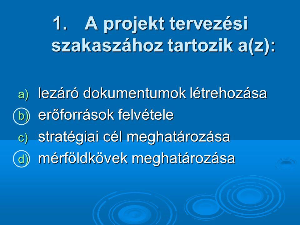 A projekt tervezési szakaszához tartozik a(z):