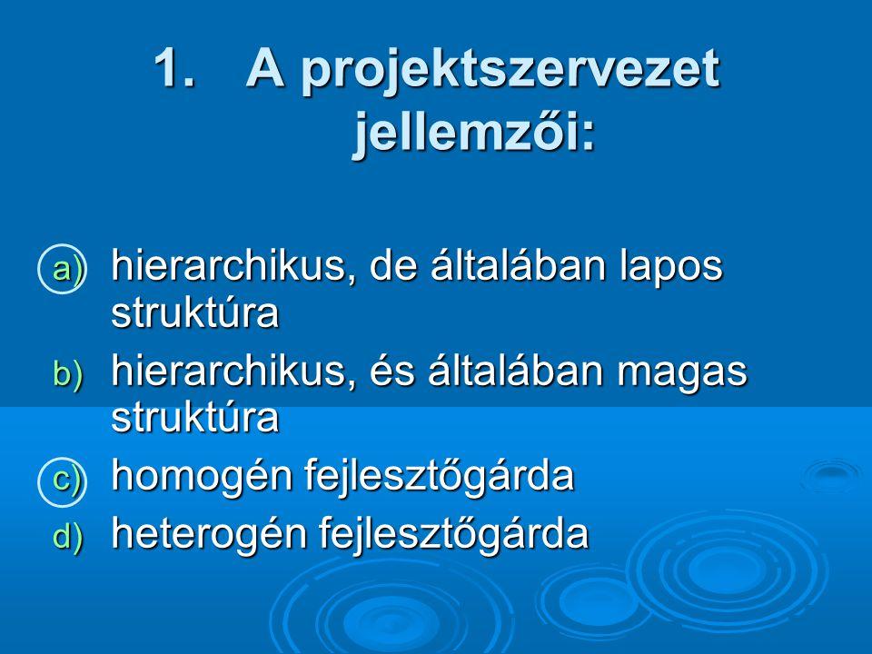 A projektszervezet jellemzői: