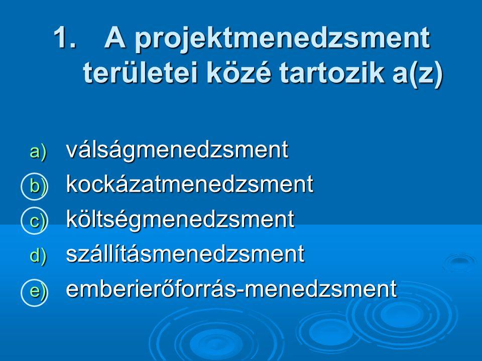 A projektmenedzsment területei közé tartozik a(z)