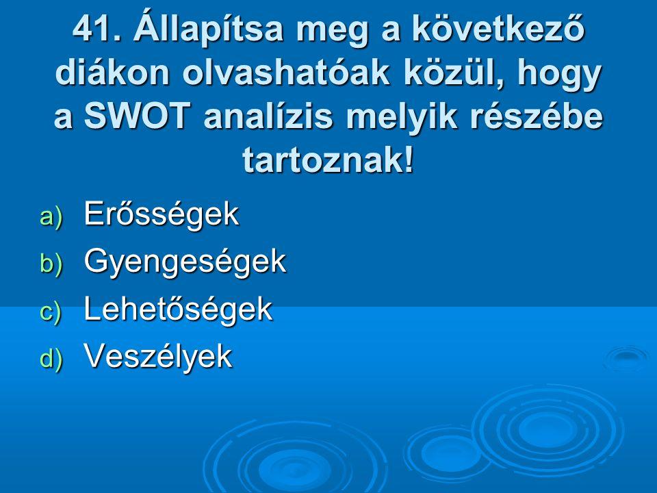 41. Állapítsa meg a következő diákon olvashatóak közül, hogy a SWOT analízis melyik részébe tartoznak!