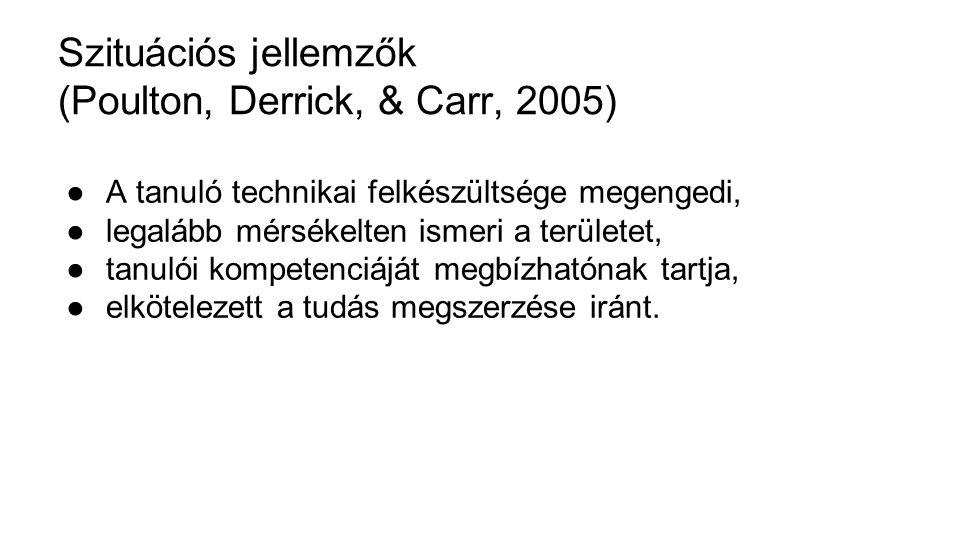 Szituációs jellemzők (Poulton, Derrick, & Carr, 2005)