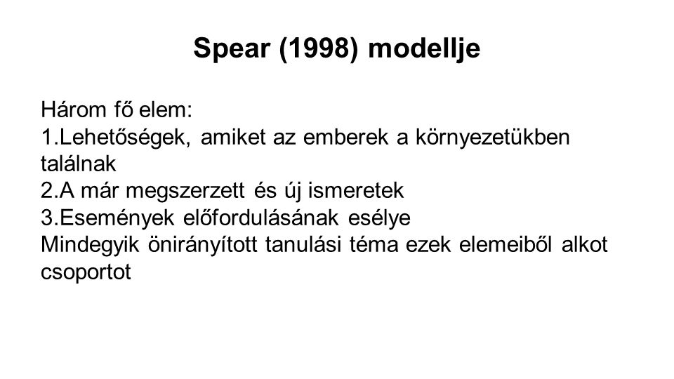 Spear (1998) modellje Három fő elem: