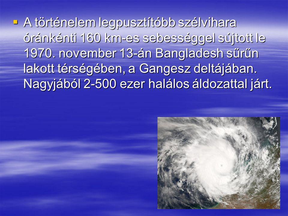 A történelem legpusztítóbb szélvihara óránkénti 160 km-es sebességgel sújtott le 1970.