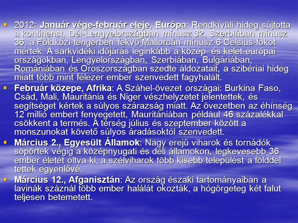 2012: Január vége-február eleje, Európa: Rendkívüli hideg sújtotta a kontinenst, Dél-Lengyelországban mínusz 32, Szerbiában mínusz 36, a Földközi-tengerben fekvő Mallorcán mínusz 6 Celsius-fokot mértek. A sarkvidéki időjárás leginkább a közép- és kelet-európai országokban, Lengyelországban, Szerbiában, Bulgáriában, Romániában és Oroszországban szedte áldozatait, a szibériai hideg miatt több mint félezer ember szenvedett fagyhalált.