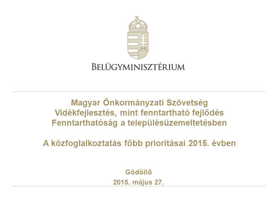 Magyar Önkormányzati Szövetség Vidékfejlesztés, mint fenntartható fejlődés Fenntarthatóság a településüzemeltetésben A közfoglalkoztatás főbb prioritásai 2015. évben